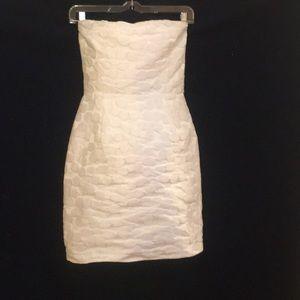 Aqua white strapless minidress